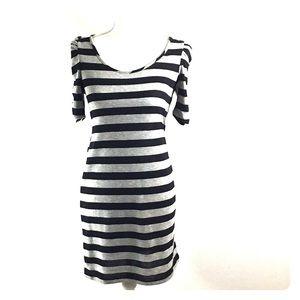 3/$20 Delirious Gray Black Striped Dress Size 5